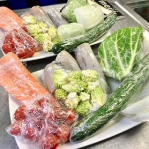 ラップに包まれた野菜